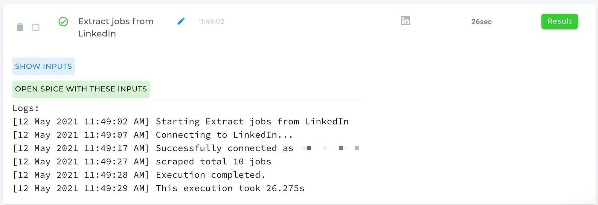 Extract Jobs from LinkedIn Automation Completed