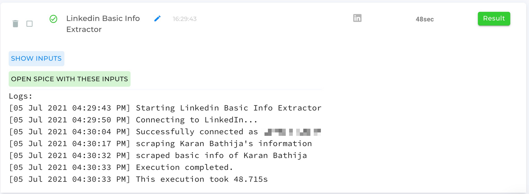 LinkedIn Basic Information Scraper Automation Completed