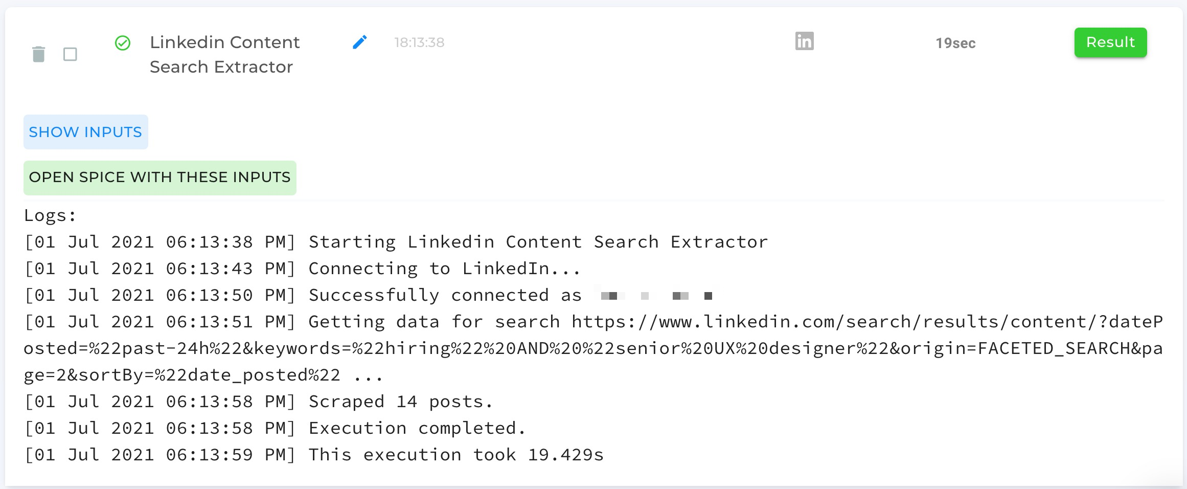 LinkedIn Content Search Extractor — automation completed