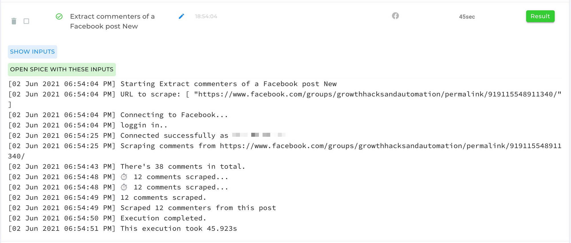 Extract-Commenters-Of-A-Facebook-Post-Result