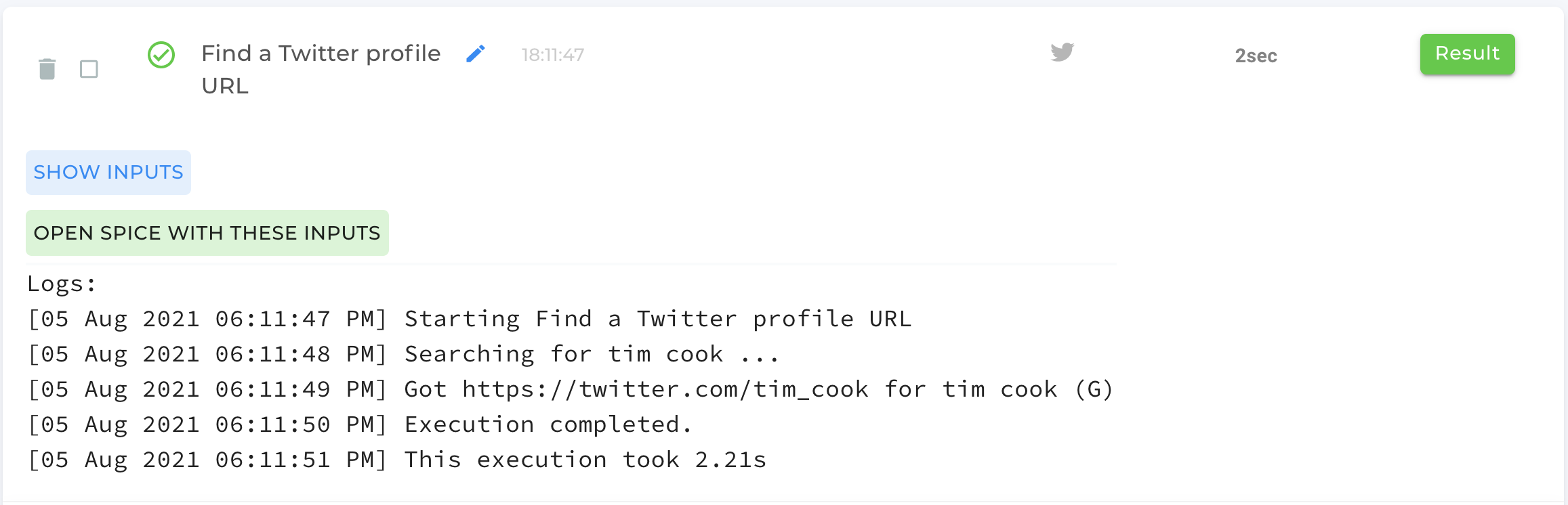 Find A Twitter Profile Automation Completed
