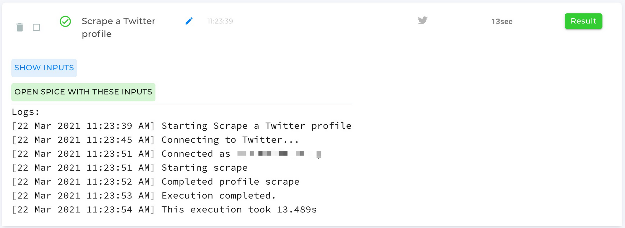Scrape a Twitter Profile Automation Completed