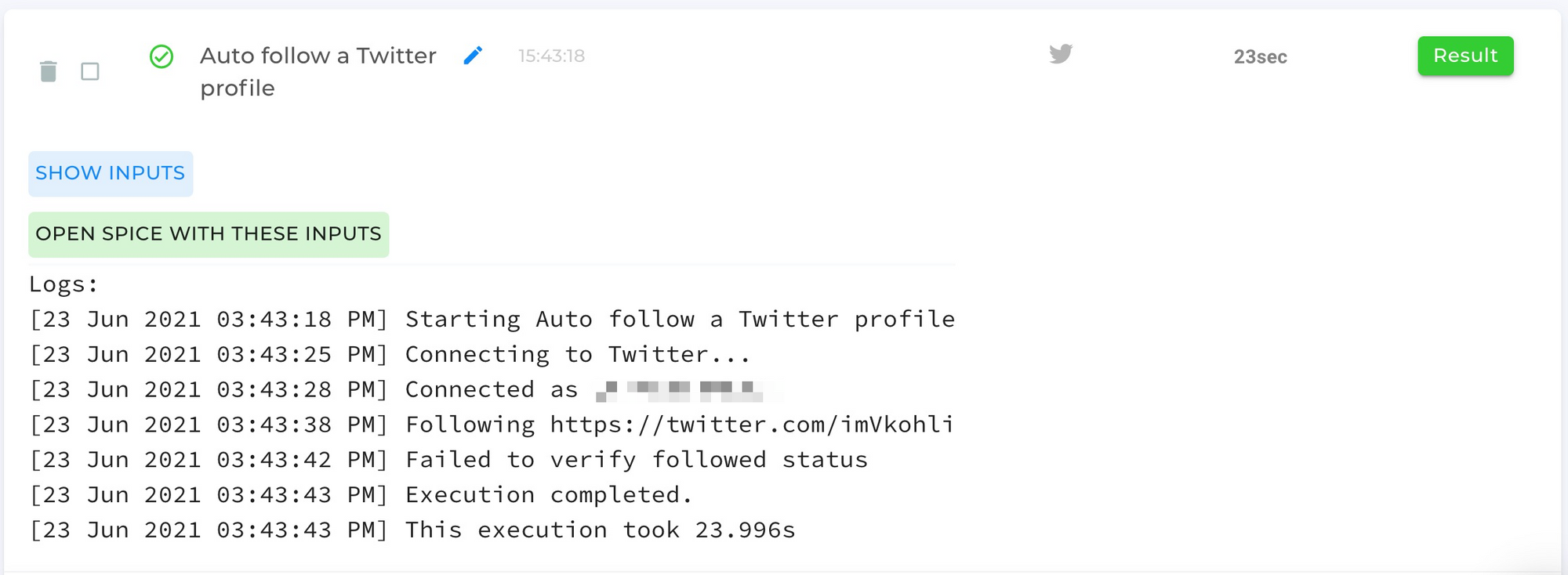 Auto Follow A Twitter Profile Automation Completed