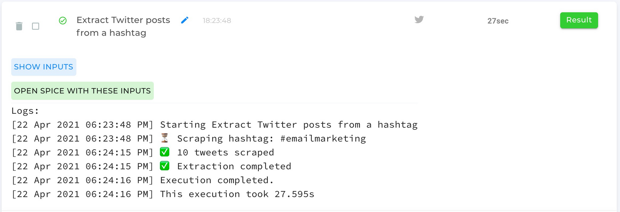 Recent posts from twitter hashtag automation completed