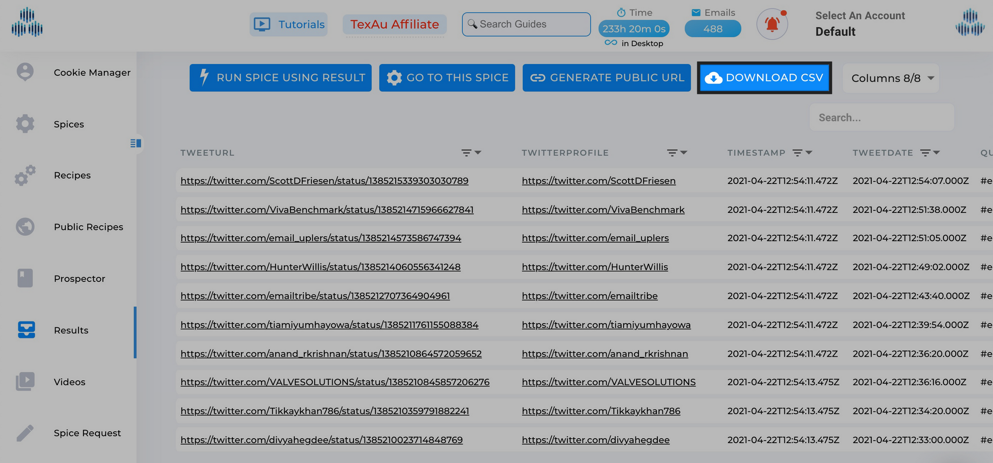 Download Recent posts using Twitter Hashtags automation
